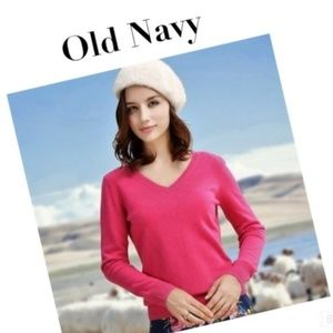 OLD NAVY PINK 100% Lambs Wool V Neck Sweater